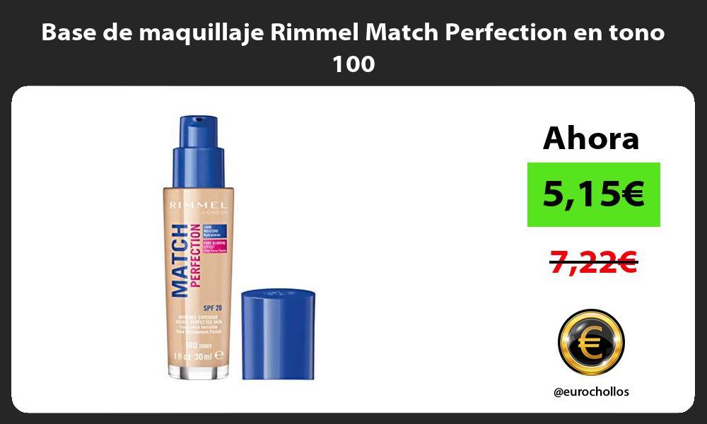 Base de maquillaje Rimmel Match Perfection en tono 100