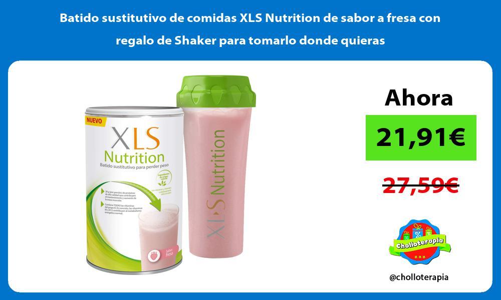 Batido sustitutivo de comidas XLS Nutrition de sabor a fresa con regalo de Shaker para tomarlo donde quieras