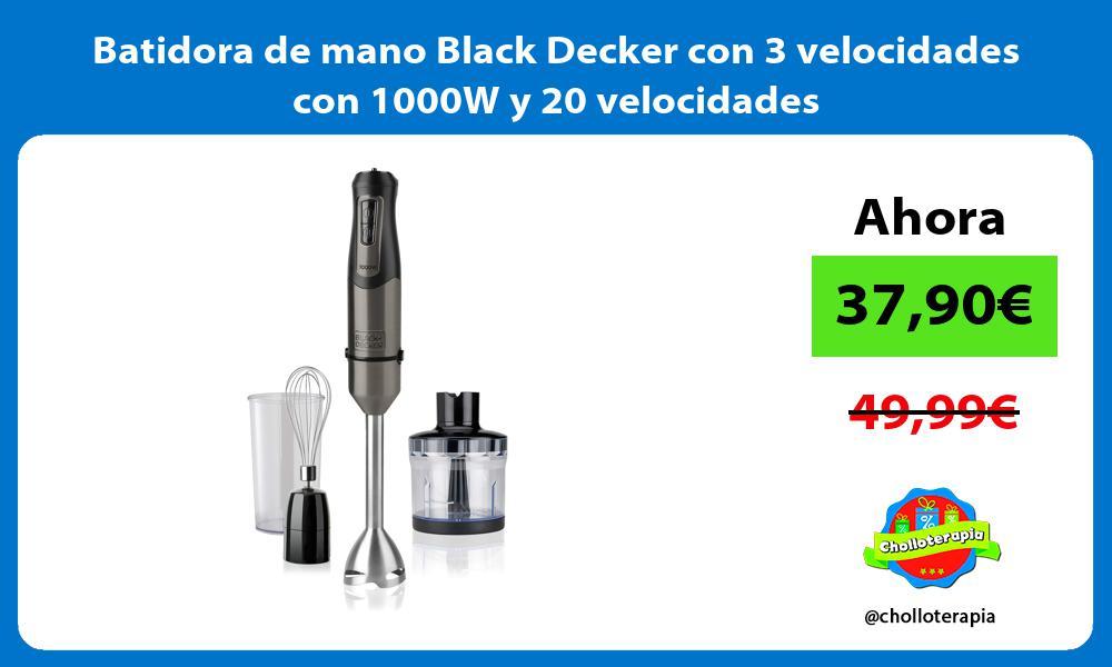Batidora de mano Black Decker con 3 velocidades con 1000W y 20 velocidades