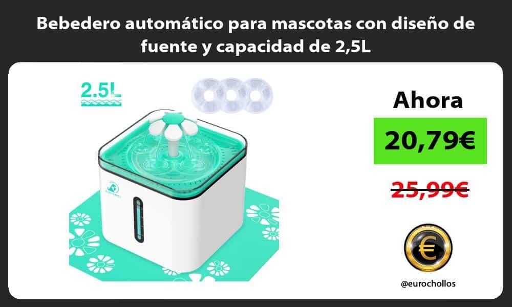 Bebedero automático para mascotas con diseño de fuente y capacidad de 25L