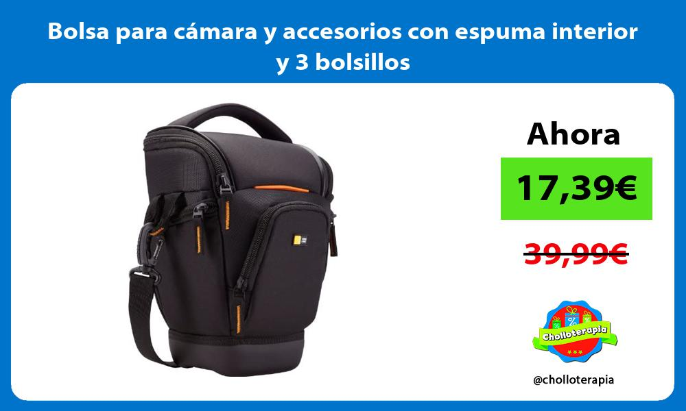 Bolsa para cámara y accesorios con espuma interior y 3 bolsillos