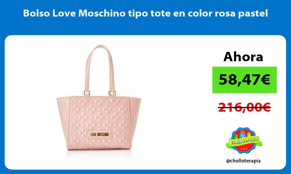 Bolso Love Moschino tipo tote en color rosa pastel