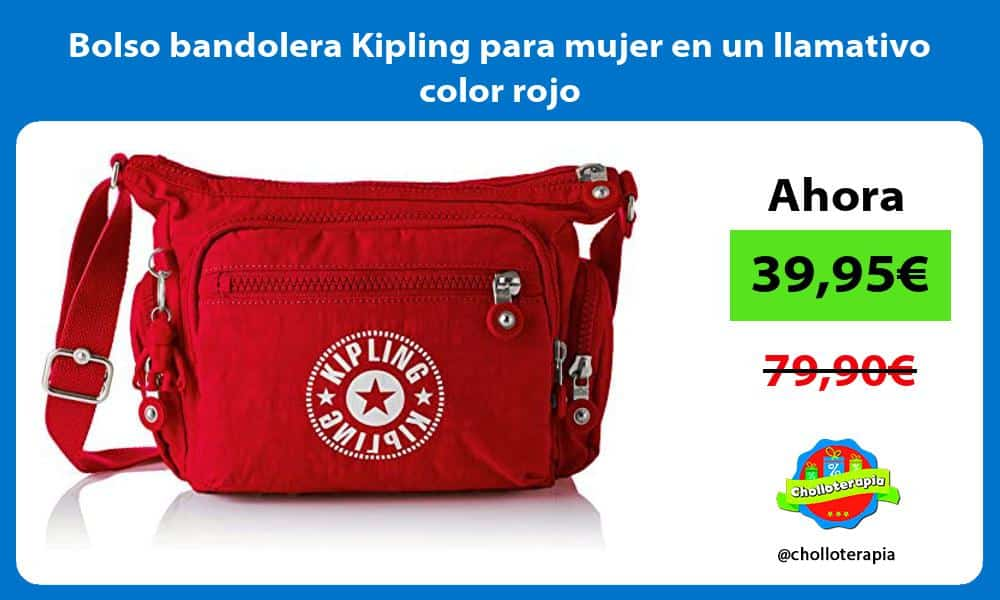 Bolso bandolera Kipling para mujer en un llamativo color rojo