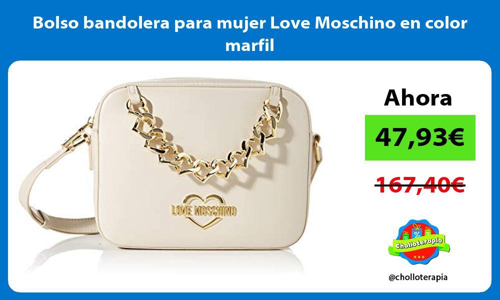 Bolso bandolera para mujer Love Moschino en color marfil
