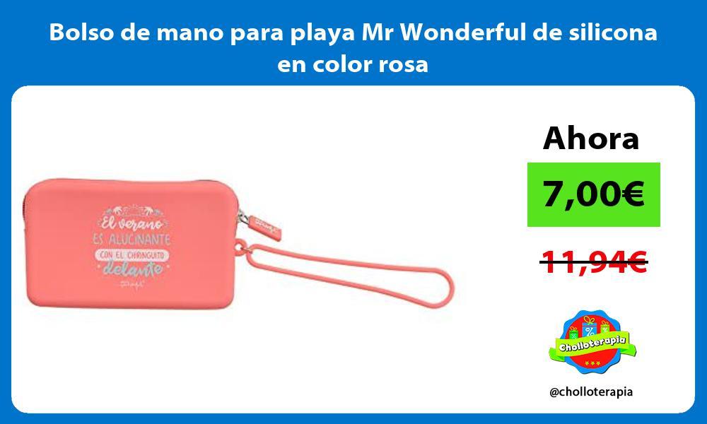 Bolso de mano para playa Mr Wonderful de silicona en color rosa