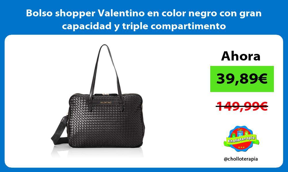 Bolso shopper Valentino en color negro con gran capacidad y triple compartimento