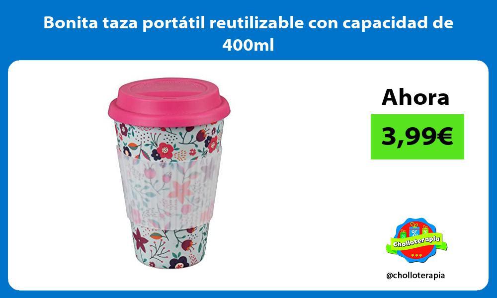Bonita taza portátil reutilizable con capacidad de 400ml