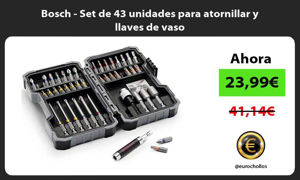 Bosch Set de 43 unidades para atornillar y llaves de vaso