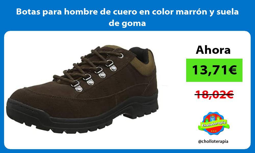 Botas para hombre de cuero en color marrón y suela de goma