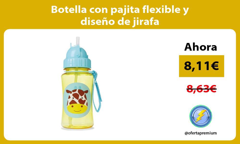 Botella con pajita flexible y diseño de jirafa