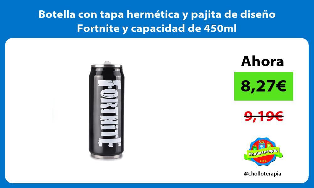 Botella con tapa hermética y pajita de diseño Fortnite y capacidad de 450ml
