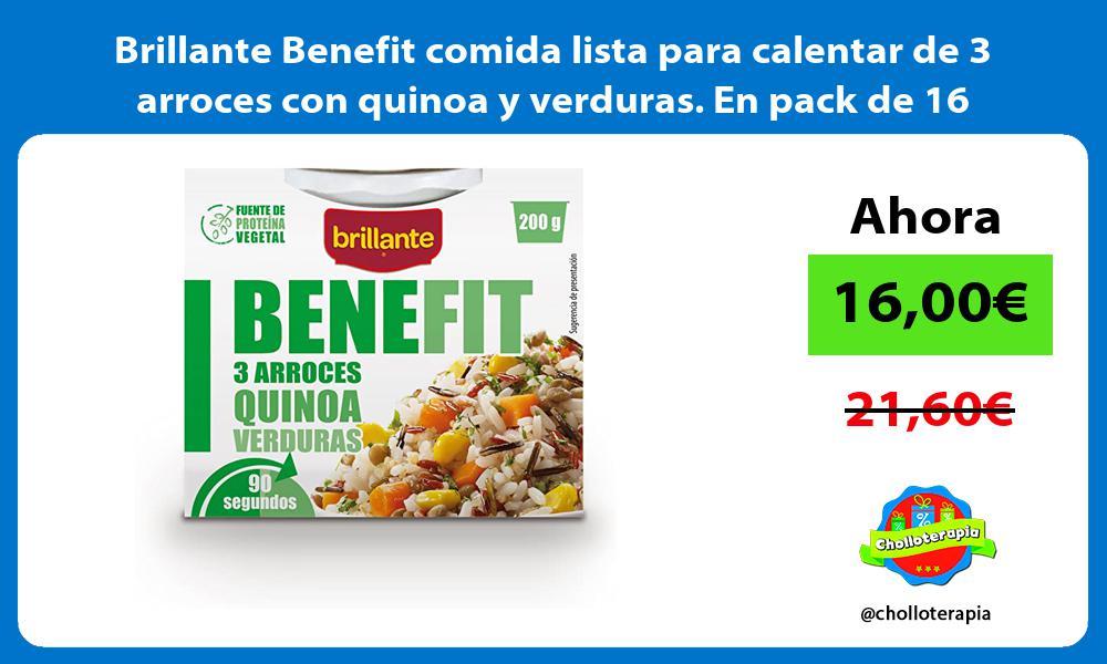 Brillante Benefit comida lista para calentar de 3 arroces con quinoa y verduras En pack de 16