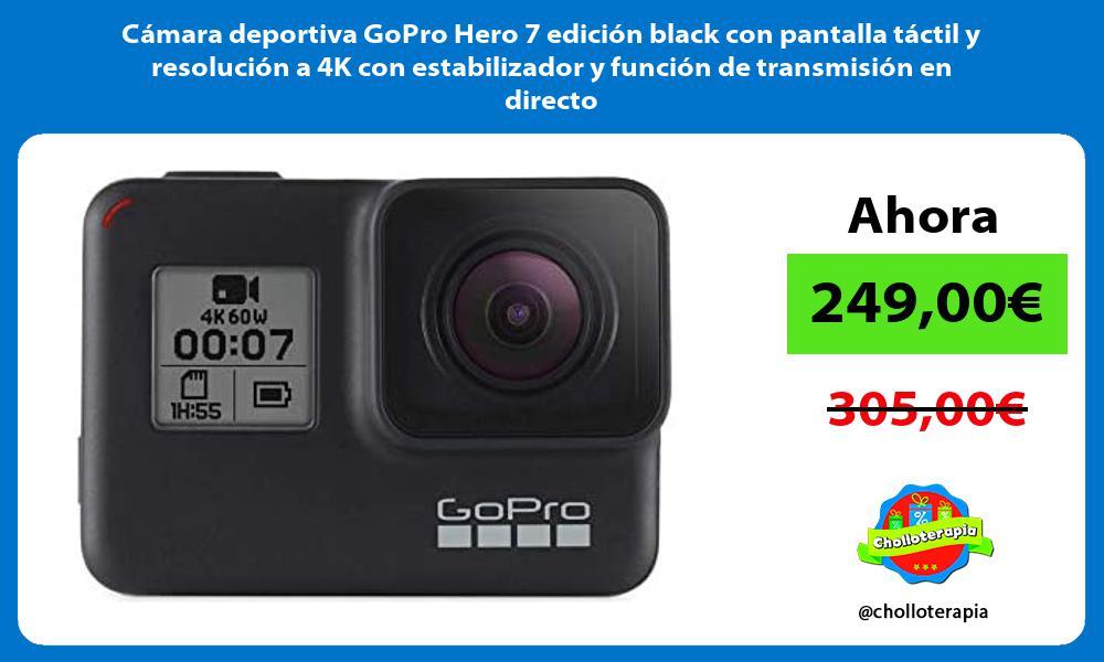Cámara deportiva GoPro Hero 7 edición black con pantalla táctil y resolución a 4K con estabilizador y función de transmisión en directo