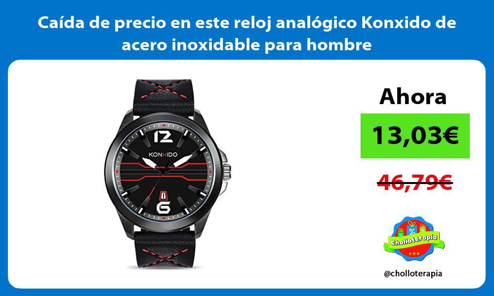 Caída de precio en este reloj analógico Konxido de acero inoxidable para hombre