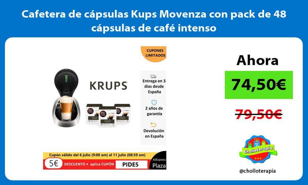 Cafetera de cápsulas Kups Movenza con pack de 48 cápsulas de café intenso