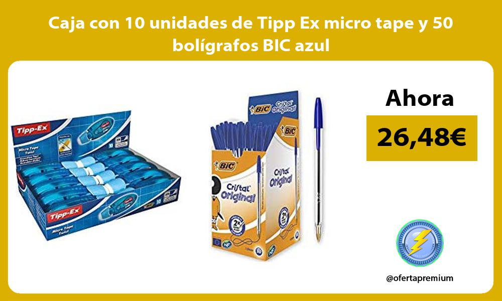 Caja con 10 unidades de Tipp Ex micro tape y 50 bolígrafos BIC azul