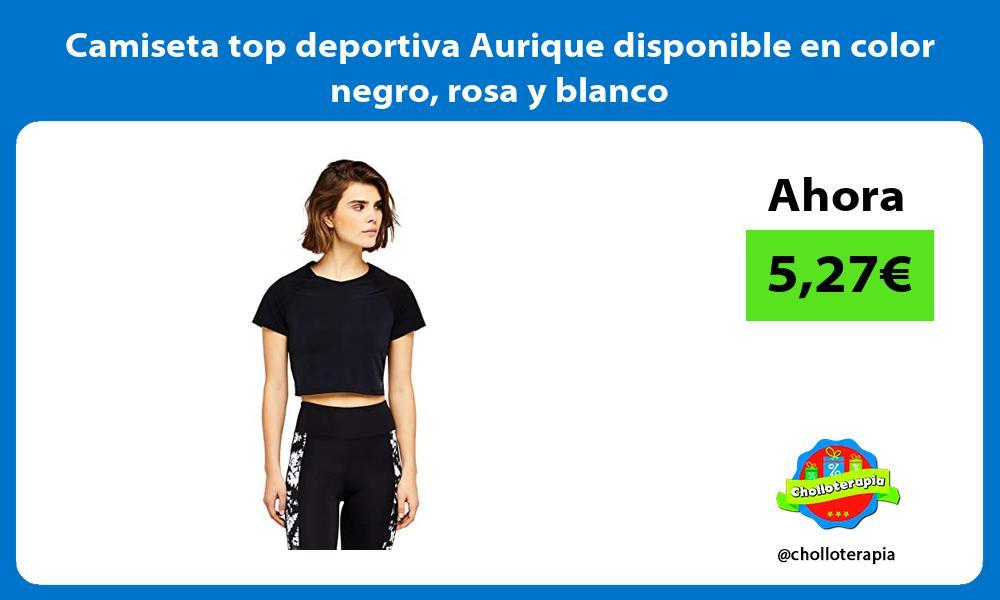 Camiseta top deportiva Aurique disponible en color negro rosa y blanco