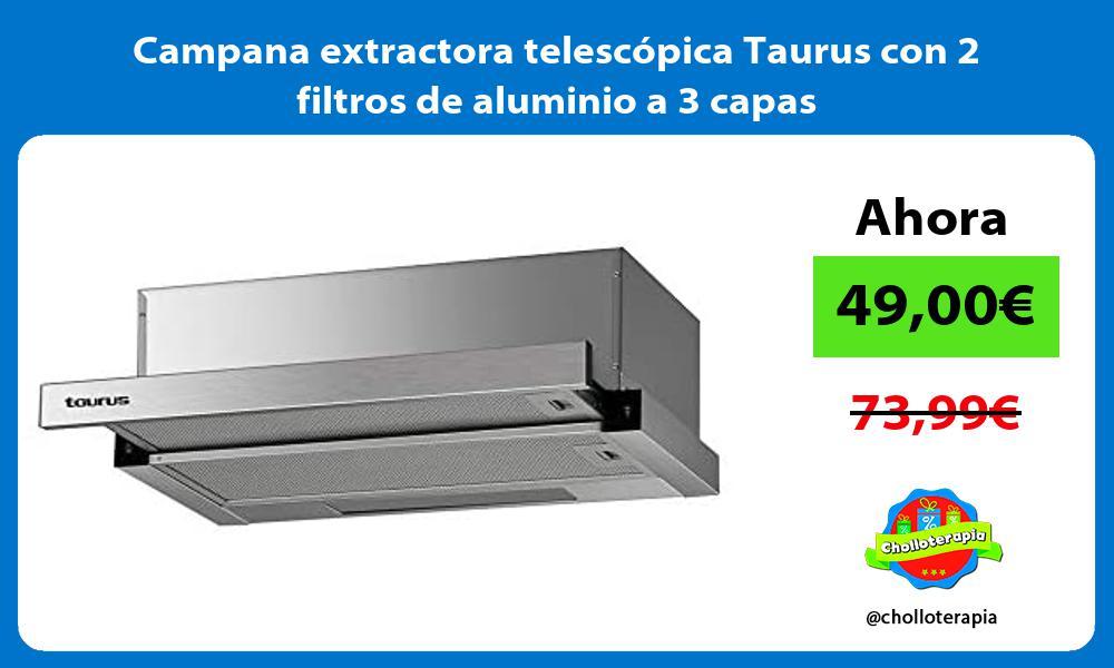 Campana extractora telescópica Taurus con 2 filtros de aluminio a 3 capas