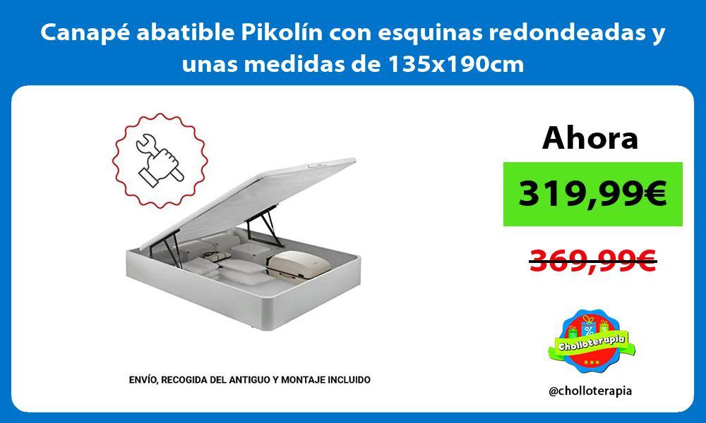 Canapé abatible Pikolín con esquinas redondeadas y unas medidas de 135x190cm