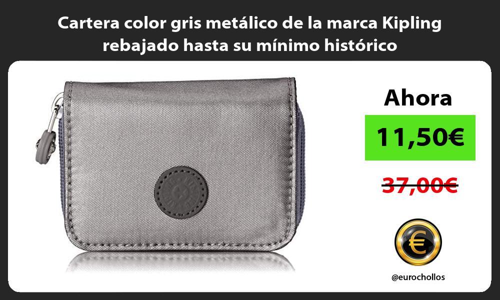 Cartera color gris metálico de la marca Kipling rebajado hasta su mínimo histórico