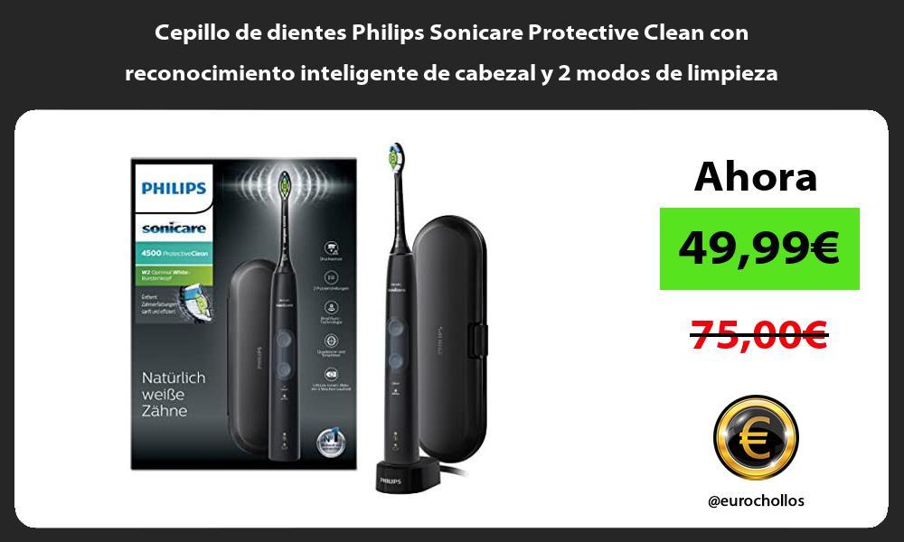 Cepillo de dientes Philips Sonicare Protective Clean con reconocimiento inteligente de cabezal y 2 modos de limpieza