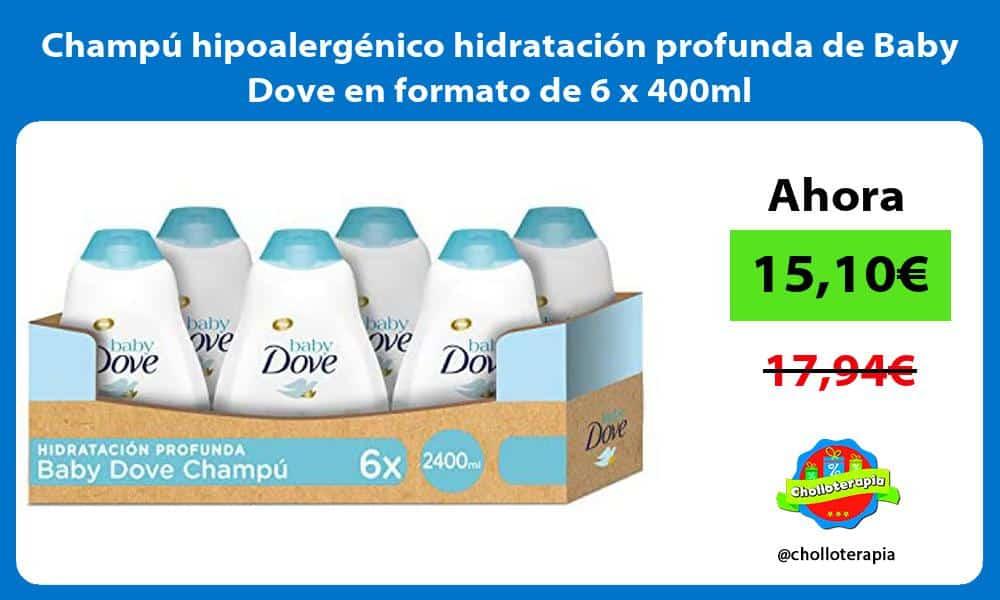 Champú hipoalergénico hidratación profunda de Baby Dove en formato de 6 x 400ml