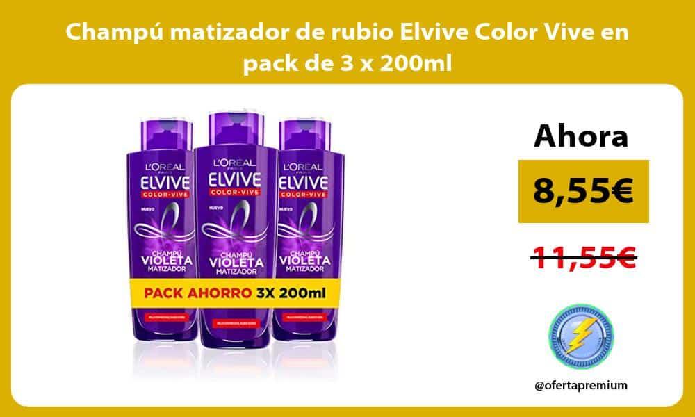 Champú matizador de rubio Elvive Color Vive en pack de 3 x 200ml