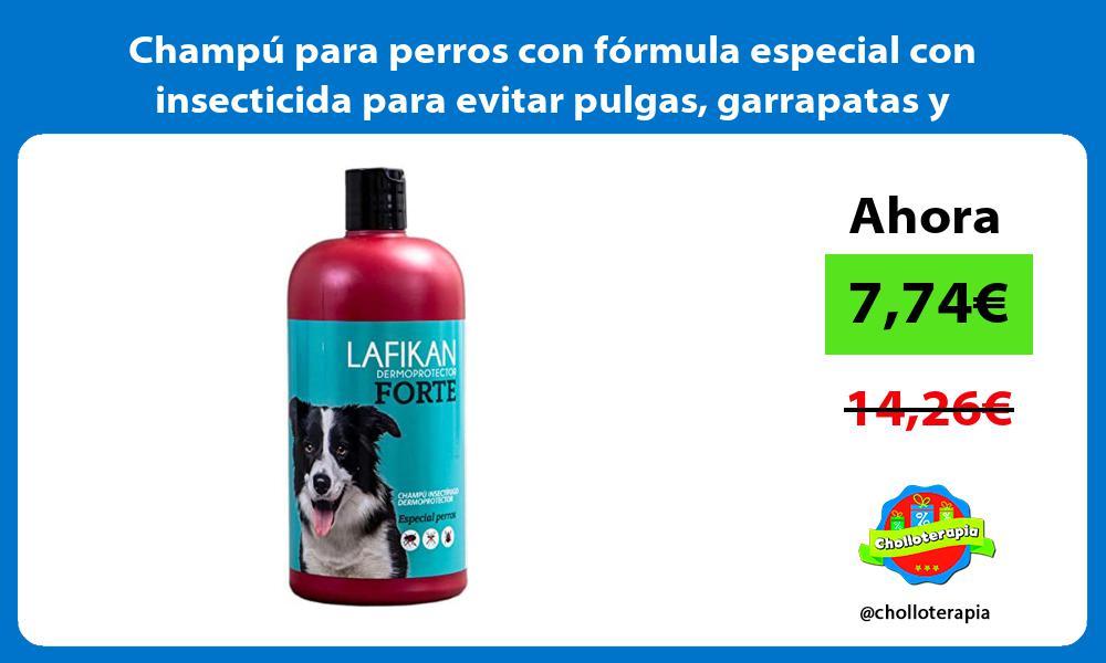 Champú para perros con fórmula especial con insecticida para evitar pulgas garrapatas y mosquitos