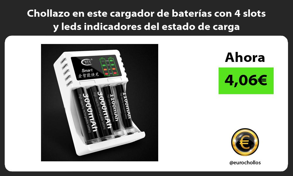 Chollazo en este cargador de baterías con 4 slots y leds indicadores del estado de carga
