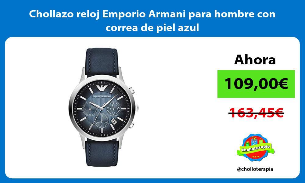 Chollazo reloj Emporio Armani para hombre con correa de piel azul