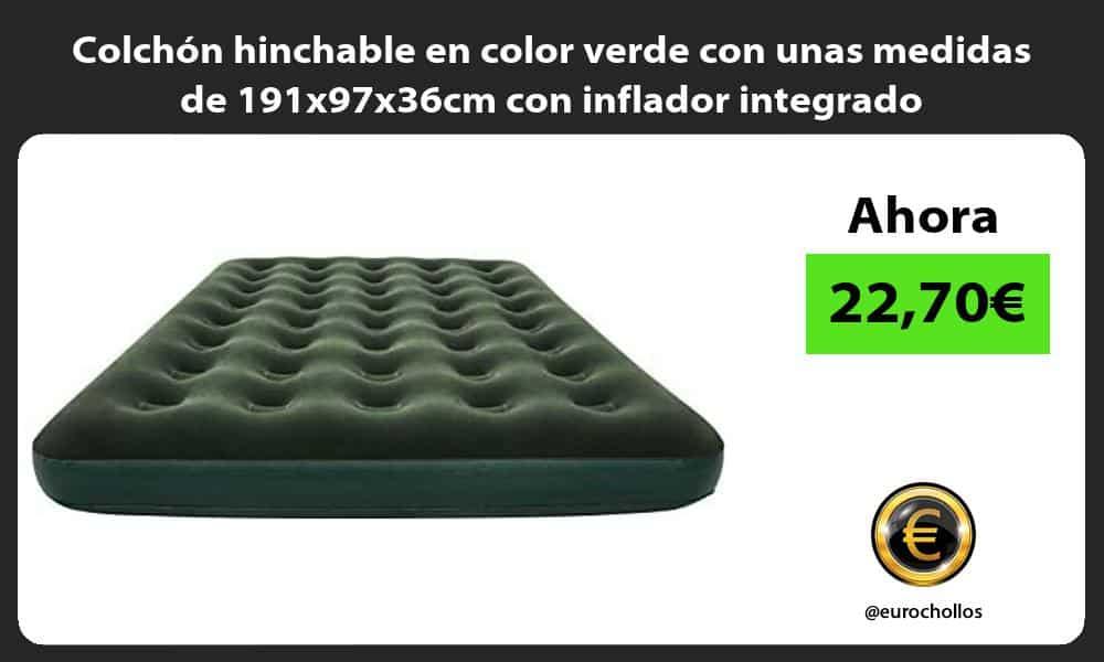 Colchón hinchable en color verde con unas medidas de 191x97x36cm con inflador integrado