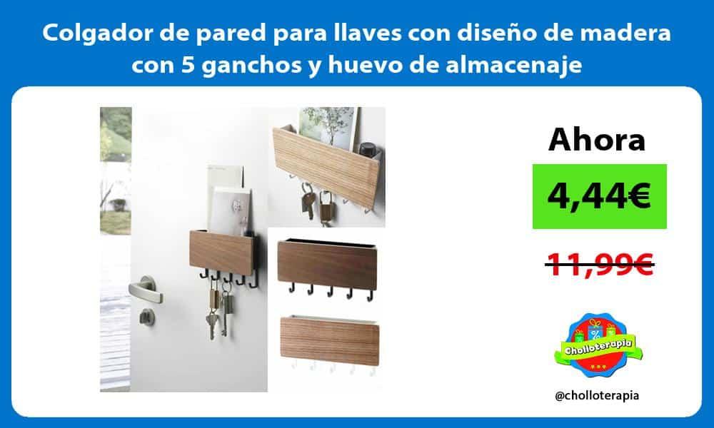 Colgador de pared para llaves con diseño de madera con 5 ganchos y huevo de almacenaje