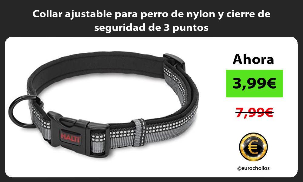 Collar ajustable para perro de nylon y cierre de seguridad de 3 puntos