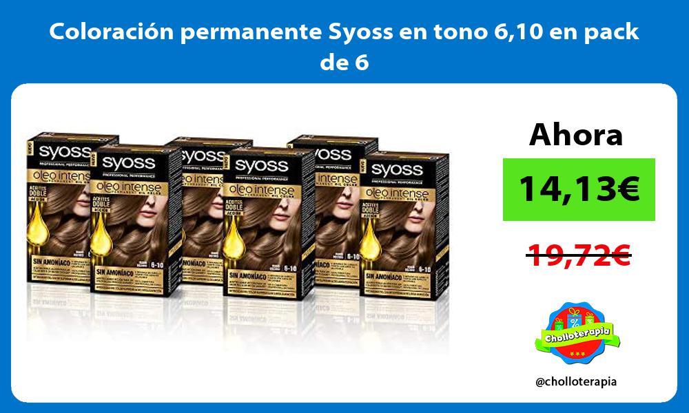 Coloración permanente Syoss en tono 610 en pack de 6
