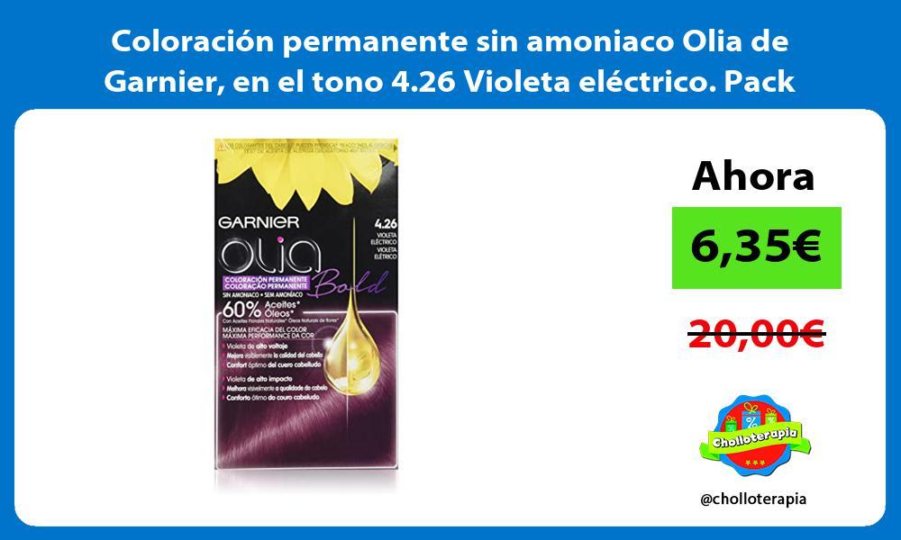 Coloración permanente sin amoniaco Olia de Garnier en el tono 4 26 Violeta eléctrico Pack de 3