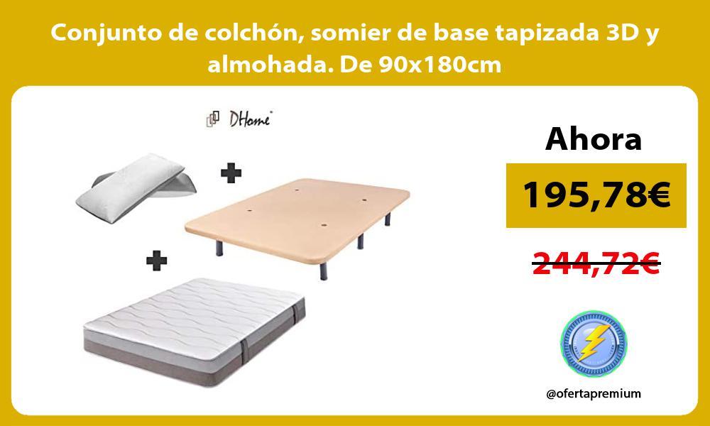 Conjunto de colchón somier de base tapizada 3D y almohada De 90x180cm
