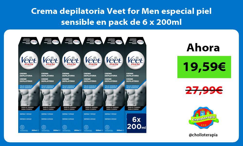 Crema depilatoria Veet for Men especial piel sensible en pack de 6 x 200ml