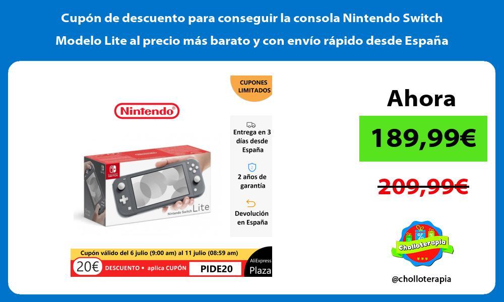 Cupón de descuento para conseguir la consola Nintendo Switch Modelo Lite al precio más barato y con envío rápido desde España