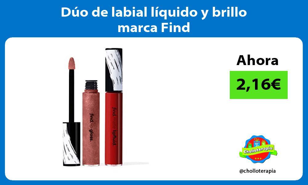 Dúo de labial líquido y brillo marca Find