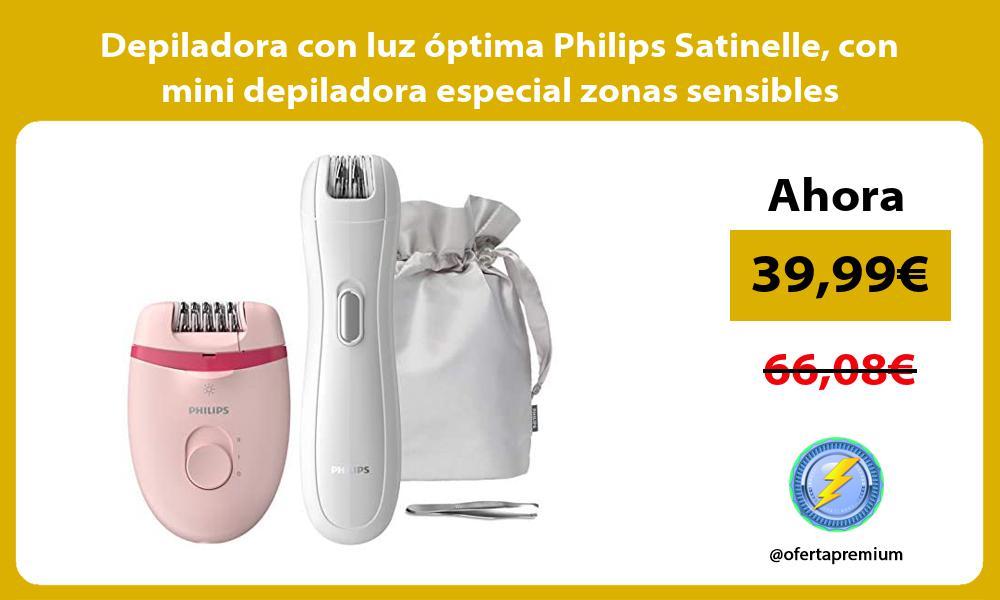Depiladora con luz óptima Philips Satinelle con mini depiladora especial zonas sensibles