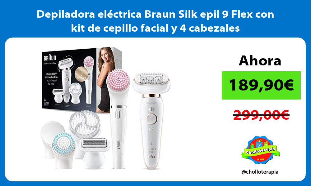 Depiladora eléctrica Braun Silk epil 9 Flex con kit de cepillo facial y 4 cabezales