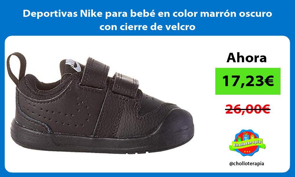 Deportivas Nike para bebé en color marrón oscuro con cierre de velcro