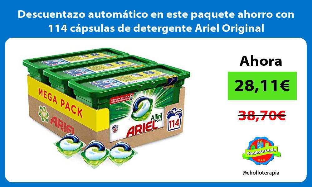 Descuentazo automático en este paquete ahorro con 114 cápsulas de detergente Ariel Original