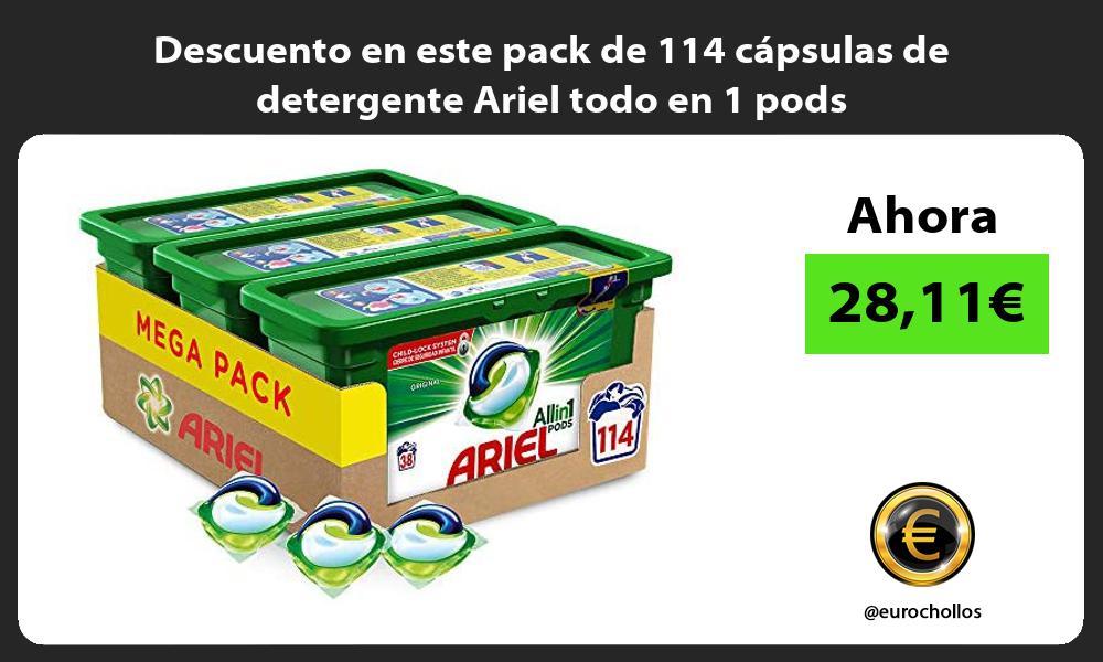 Descuento en este pack de 114 cápsulas de detergente Ariel todo en 1 pods