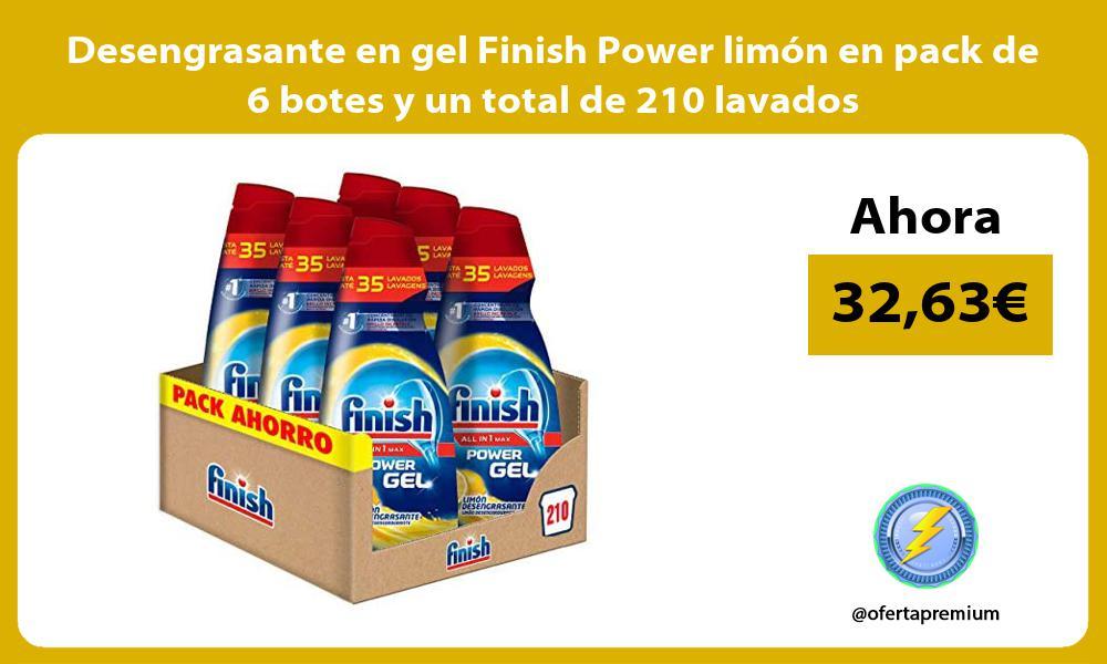 Desengrasante en gel Finish Power limón en pack de 6 botes y un total de 210 lavados