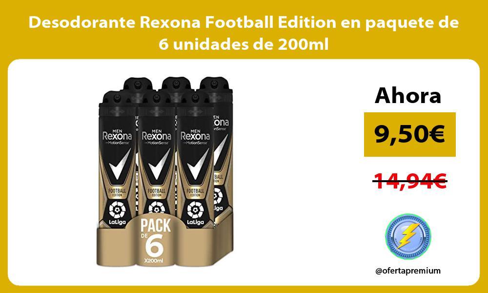 Desodorante Rexona Football Edition en paquete de 6 unidades de 200ml