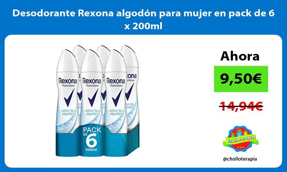 Desodorante Rexona algodón para mujer en pack de 6 x 200ml