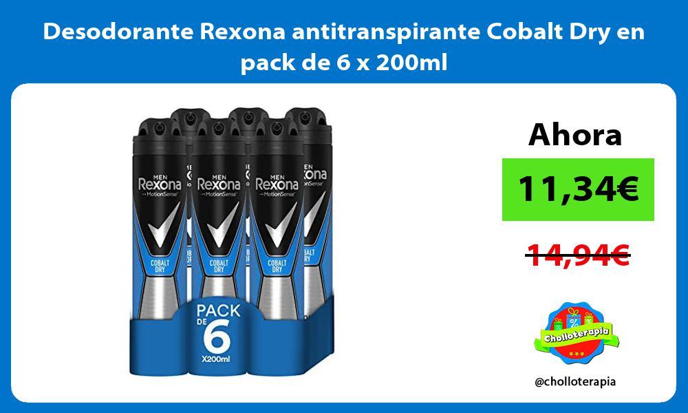 Desodorante Rexona antitranspirante Cobalt Dry en pack de 6 x 200ml