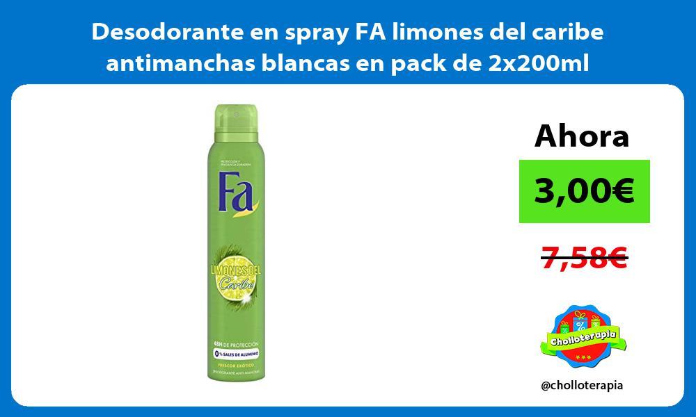 Desodorante en spray FA limones del caribe antimanchas blancas en pack de 2x200ml