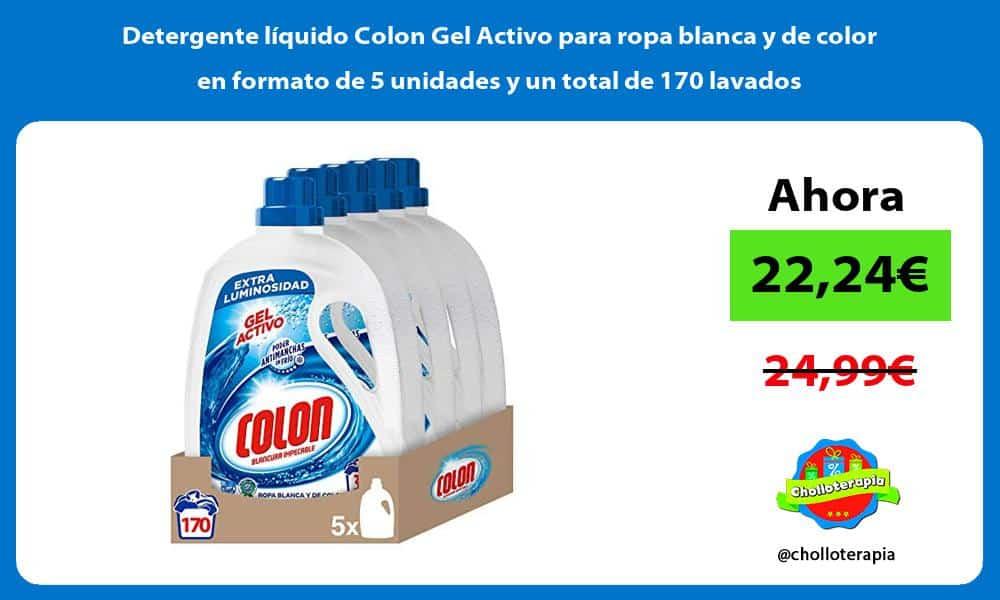 Detergente líquido Colon Gel Activo para ropa blanca y de color en formato de 5 unidades y un total de 170 lavados